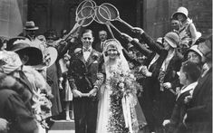 A tennis wedding in 1930 - club player Alice Elliott and her new husband Harold Kail walked under an arch of rackets.