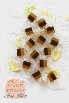 Sweet Tea and Ginger Lemonade Shot Bites / homemade jell-o shots / joy the baker Tea Recipes, Summer Recipes, Dessert Recipes, Recipies, Chocolates, Homemade Lemonade, Homemade Jello, Jelly Shots, Joy The Baker