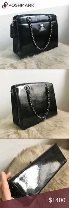 2c210c5452a531 Authentic Chanel Patent Leather Handbag Authentic Chanel Handbag in a black  patent leather with silver hardware