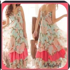"""🎉🌺5X HP NWT Green Coral Bohemian Maxi Dress Gorgeous vacation dress! Nice for a cruise! HP 8/28/16! """"So long summer party """"! HP 8/27/16! Classic Chic Party! HP 8/10/16! Fashion Favorites Party! HP 6/11/16! Essential Style Party!HP 5/14/16! """" Essential Styles Party""""! This would make a gorgeous PROM dress or vacation dress! This is a flirty, feminine and dreamy dress! The bottom is a layered ruffled hem! The colors are green, cream, coral and a soft pink! ! Boutique Dresses Prom"""