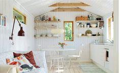 Lightness of kitchen furniture at a scandinavian style cottage