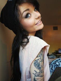 hair, beanie, makeup