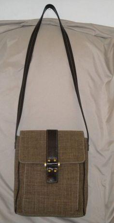 Maxx New York Tan & Brown Poly/Nylon-Linen Crossbody Bag - Small Sized…