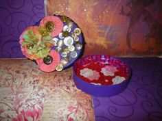buttons and flowers purple up cycled jewelry box by craftybabydoll, $15.00