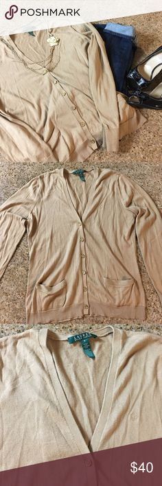 Classic button cardigan Classy, beautiful milk chocolate brown cardigan by Ralph Lauren with accented gold buttons. 100%cotton. EUC only flaw as you can see in last photo the edge of one pocket becoming unthreaded. Perfect closet staple! Ralph Lauren Sweaters Cardigans