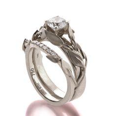Leaves Engagement Set Bridal Set 18K White by DoronMeravWeddings $1,550.00