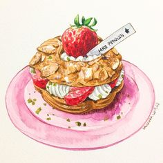 Recipe Drawing, Dessert Illustration, Food Sketch, Cute Food, Food Inspiration, Food Illustrations, Food Design, Watercolor Food, Cafe Art