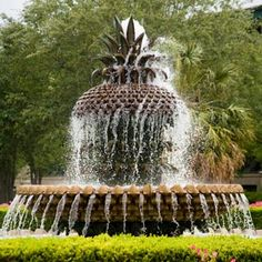 Charleston, SC - the pineapple fountain in Waterfront Park. The pineapple is a symbol of hospitality in Charleston Charleston Caroline Du Sud, Charleston South Carolina, Carolina Usa, Historic Charleston Sc, Oh The Places You'll Go, Places To Travel, All Nature, Vacation Spots, Vacation Places