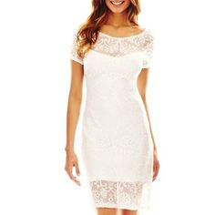 Bisou Bisou® Embroidered Mesh Shift Dress - jcpenney