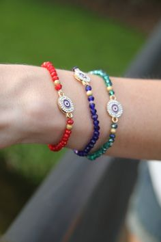 Evil Eye Bracelet, Beaded Bracelet, Evil Eye Pendant, Arm Candy, Stackable Bracelet, Protection Bracelet on Etsy, $12.00
