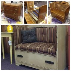 Make a bench out of an old dresser