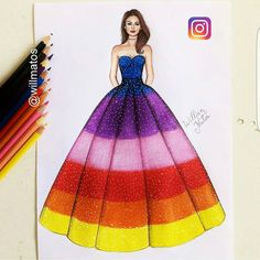 Likes, 16 Comments – Gallery of Fashion Designs (Karen Weiss. Dress Design Drawing, Dress Design Sketches, Fashion Design Sketchbook, Art Drawings Sketches Simple, Fashion Design Drawings, Dress Drawing, Fashion Sketches, Wedding Dress Sketches, Fashion Drawing Dresses