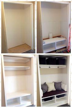 Front closet remodel hooks New ideas Closet Nook, Hallway Closet, Front Closet, Kid Closet, Closet Shelves, Closet Storage, Cubbies, Closet To Mudroom, Closet Bench