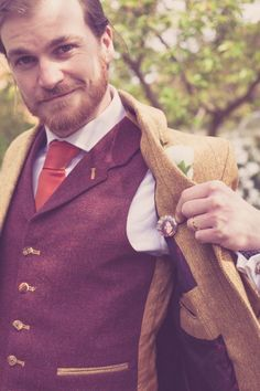 Tweed Groom Jacket Waistcoat - love the photo button of his bride tucked inside his jacket