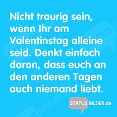 Nicht traurig sein, wenn Ihr am Valentinstag alleine seid. Denkt einfach daran, dass euch an den anderen Tagen auch niemand liebt.  - Lustige Valentinstagssprüche.