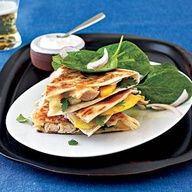 I went the cheap route with this. I bought a package of precooked Tyson chicken, a block of pepper jack and two fresh peaches, all of which was on sale. I paid way less than $10 for a meal which fed five people. Pepper Jack, Chicken, and Peach Quesadillas | MyRecipes.com