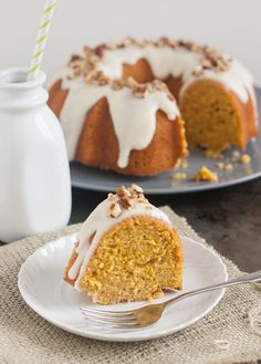 Pumpkin-Ginger Pound Cake Bundt with Maple Cream Cheese Glaze by Tracey's Culinary Adventures
