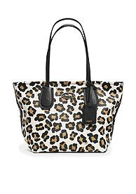 COACH OCELOT PRINT LEATHER TAXI ZIP TOP TOTE