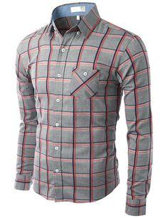 Doublju Mens Plaid Slim Dress shirts at Amazon Men s Clothing store  Button  Down Shirts Plaid 3ace3f9aa