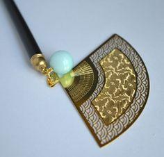 G061 Traditionelle Gold Fan mit echt Amazonit Steine Haar Stick Kanzashi Haarnadel