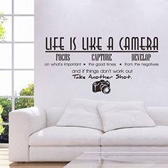 Voberry Life Is Like A Camera  Wall Sticker Quote Vinyl Room Wall Decal Home Decor Living Room Bedroom Art Wall stickers >>> You can get more details by clicking on the image.