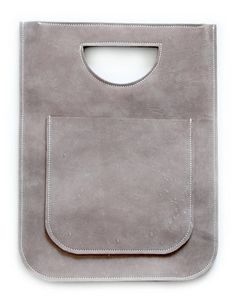 Flat Gray Nubuk Smile Bag Cute Mini Leather Shopper