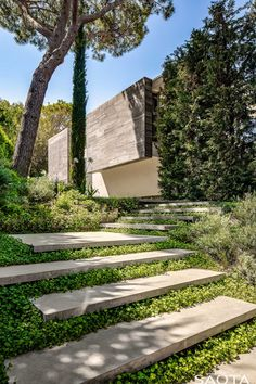 Architecture firm SAOTA has recently completed this modern summer house in Saint Tropez, France, that features a wavy concrete ceiling. Concrete Ceiling, Timber Ceiling, Landscape Architecture, Landscape Design, House Landscape, Landscape Steps, France Landscape, Vernacular Architecture, Green Landscape