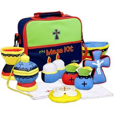 Children's My Mass Kit- Designed for reverent play - Includes 12 cleanable pieces and a colorful instruction booklet. Available at Leaflet Missal