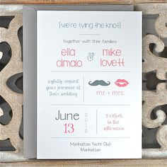 Wedding Invitations . Wedding Invitation . Modern Wedding Invites  - Lips and Mustache on Etsy, $2.50