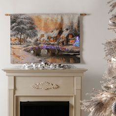 Cobblestone Christmas Fiber Optic Tapestry Wall Hanging Thomas Kinkade