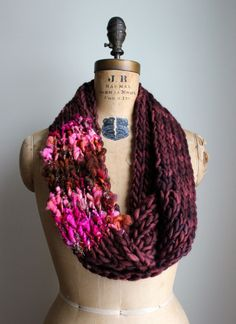 Bohemian knit loop infinity scarf. Brown. Pink. by Happiknits, $77.00