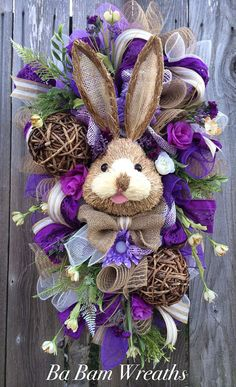 Easter Wreath, Easter Swag, Bunny Wreath, Spring Wreath  Here comes Peter Cottontail hopping down the bunny trail! Hippity Hop- Easters on its way!