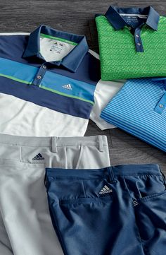Golf Fashion Stlyle adidas' latest golf styles feature bright-colored polos and complimentary shorts, guaranteed to give every player a confident look on the course. Golf Training Aids, Training Shoes, Golf Fashion, Mens Fashion, Mens Golf Outfit, Golf Attire, Camisa Polo, Golf Gifts, Golf Accessories