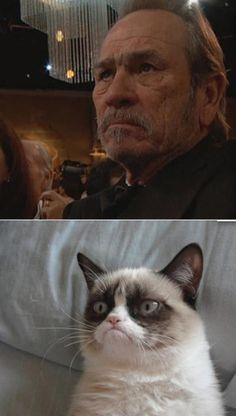 Tommy Lee Jones is the human Grumpy Cat...........my hubs made it a point to point out his mad face was coming up when we watched the monologue on youtube. Super awesome to see this now!