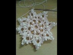 Crochet Snowflake Pattern, Crochet Snowflakes, Crochet Stitches Patterns, Bead Crochet, Crochet Designs, Crochet Doilies, Crochet Flowers, Crochet Christmas Decorations, Crochet Decoration