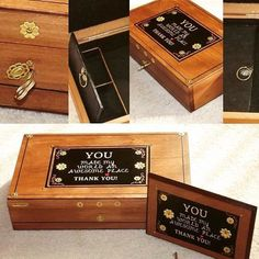 MOTHER'S DAY. Gift Set. Thank You. by DAWNaffirmationBoxes on Etsy. _- - This thoughtfully inscribed, one-of-a-kind Lockable jewellery box WITH matching WALL PLAQUE Says it all. #mothers #Day #mom #Giftset #UniqueGift #ThankYouGift #ThankYou #MothersDay #JewelryBox #LockBox #WoodenBox #WoodenLockBox #WallPlaque #ThankyouPlaque #LockandKeyBox #DawnAffirmationBoxes #DecorativeBox #DecorativewoodenBox #AffirmationBox