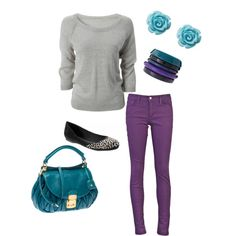 purple pants, off white top. Purple Pants Outfit, Purple Jeans, Purple Outfits, Hot Outfits, Stylish Outfits, Fall Winter Outfits, Autumn Winter Fashion, Turquoise Clothes, Color Jeans