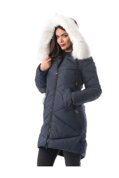 Darkblue jacket casual from slicker with inside lining with faux fur accessory with pockets, faux fur accessory, with pockets, inside lining, zipper fastening Faux Fur Accessories, Line, Black Friday, Dark Blue, Winter Jackets, Product Launch, Hummus Recipe, Fashion Outfits, Casual