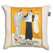 This poster from 1917 is advertising a wounded soldiers and sailors charity day. Long before the health dangers became widely known First World War soldiers were given free cigarettes in their rations and smoking was seen as a way of reducing stress. Imperial War Museum Cushion Cover, 45 cm x 45 cm. Linen look, Machine Washable. Made in the UK.
