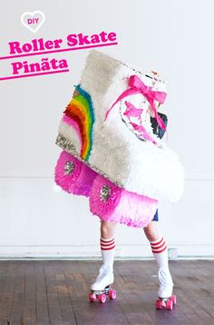 Hosting a Roller Skating birthday party? Impress the birthday girl's party guests with this enormous DIY Roller Skate pinata. We love the shoe laces! Pinata Party, Festa Party, Sofia Party, First Birthday Parties, Girl Birthday, Birthday Ideas, Roller Disco, Roller Derby, Roller Skate Cake