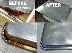 Homemade cleaner  1/4 cup baking soda, add enough peroxide to make a paste, use sponge to clean cookie sheets.