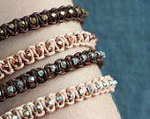 Leather bracelet geometrical beads