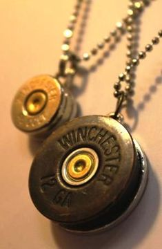 Upcycled jewelry bullet necklace...maybe glue a rhinestone in the center to add some sparkle!