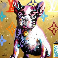"Saatchi Art Artist Patrick CORNEE; Painting, ""Luxury dog Gold, Pink version"" #art"