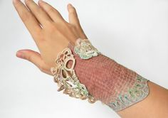 Leather and Lace Cuff Macrame and Crochet Bracelet by Elyseeart
