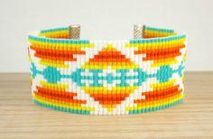 Turquoise Pendleton Loom Beaded Bracelet  - Turquoise White Red Orange Yellow Bead Loom Bracelet  - Jewelry Gift for Her