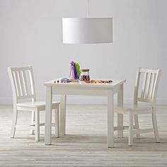 Here There Play Table & 2 Parker Play Chairs (White)  | The Land of Nod