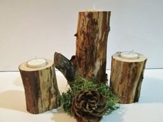 Rustic Candle Holders Set of 3 Christmas by DivineRusticCreation, $22.95