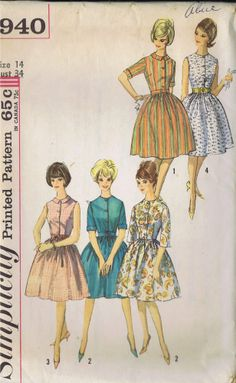 "VINTAGE ONE PC DRESS SEWING PATTERN 60s SIMPLICITY SIZE 14 BUST 34 HIP 36"" UNCUT"