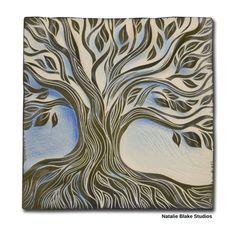 Natalie Blake Studios sgraffito carved tree of life tile in beautiful soft blue glaze.